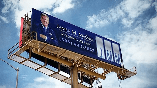 James McGill massive bilboard in New Mexico, promotional advertising for BCS