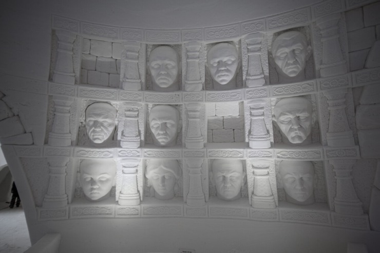 Hall of Faces in the Game of Thrones ice hotel, Finland
