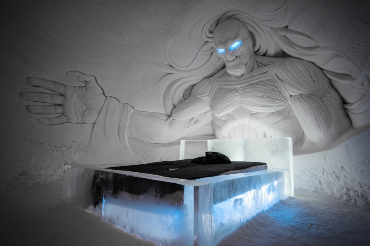 Bedroom in the Game of Thrones ice hotel, Finland